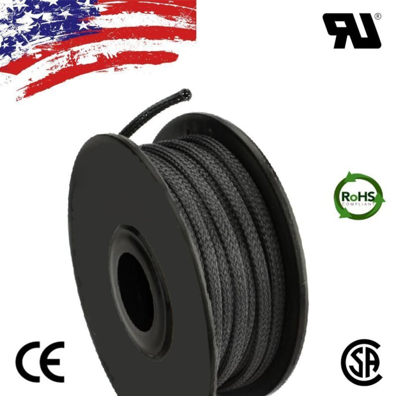 """100 FT 1/4"""" Black Expandable Wire Cable Sleeving Sheathing Braided Loom Tubing"""