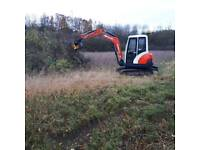 Hedge coppice, tree shearing, flailing all digger work
