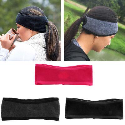 Women Winter Thermal Fleece Ponytail Headband Ear Cover Ear Warmer Head Wear Fleece Ear Warmer