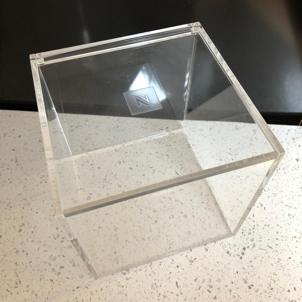 NESPRESSO CLEAR TRANSPARENT CUBE STORAGE CAPSULE POD DISPENSER BOX