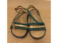 Blue and metallic flat Clarks sandals - size 6 pretty and comfortable