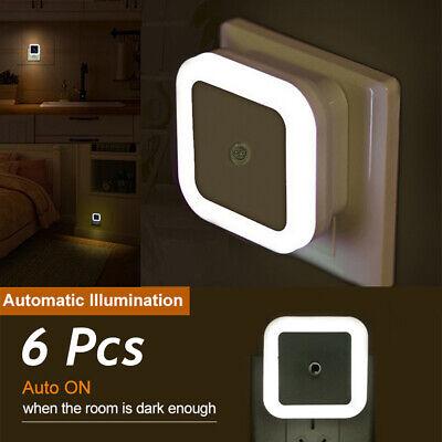 6Pcs Plug-in LED Night Lights Lamp Dusk to Dawn Sensor Hallway Kitchen Bathroom