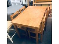 Raye Solid Wood Dining Table & 4 Chairs