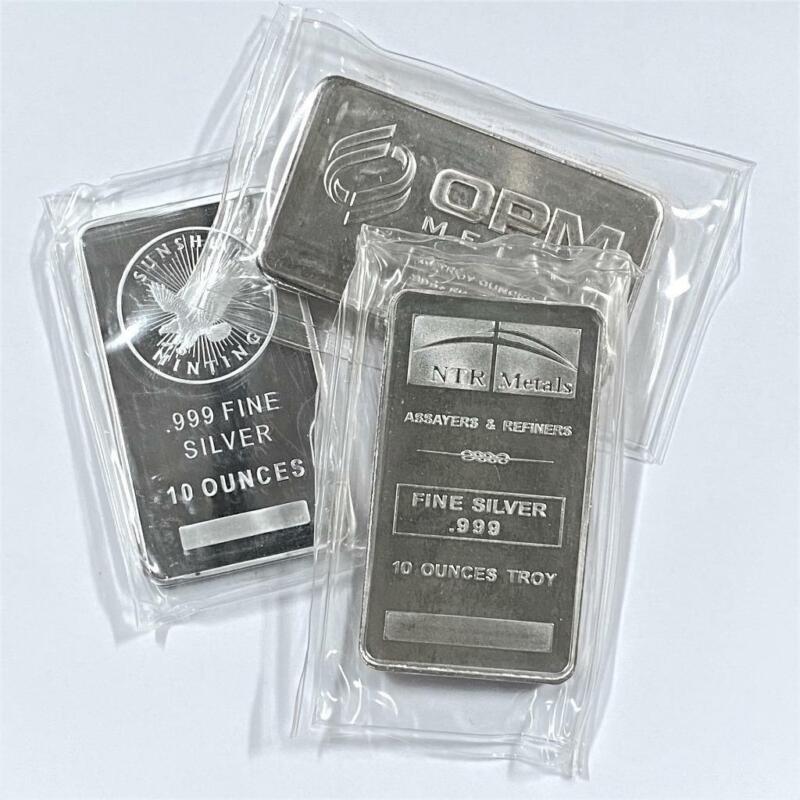 10 oz .999 Silver Bar - Random Hallmark - Circulated 10oz Silver Bullion #A204