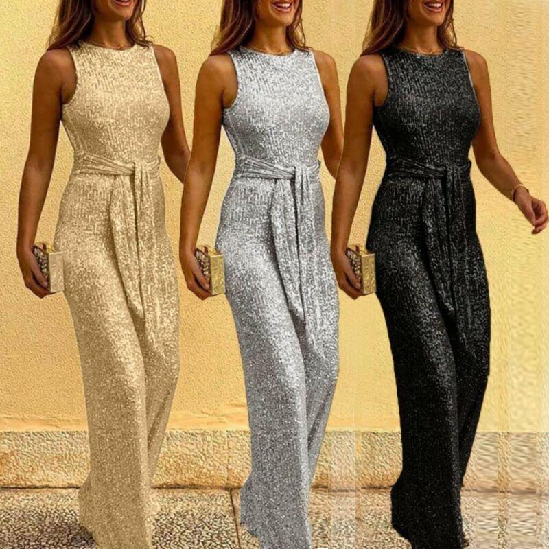 Women Sequin Summer Sleeveless Strapless Siamese Trouser Par