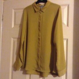Mustard button up long sleeve shirt