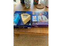 Trivial pursuit, friends and Harry Potter expansion packs, QI board game, top trumps,