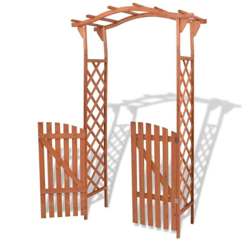 Solid Wood Garden Arch with Gate 2 in 1 Patio Decor Arbour A