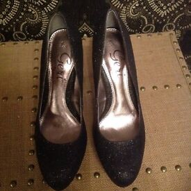Next Geri black glittery shoes never worn size 4.5 or 37.5