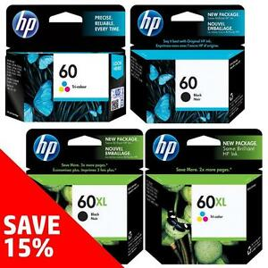 Original HP 60-Ink Black (& Colour) - Buy 2 Direct from HP Save 15%