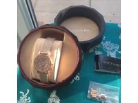 Wittnauer of New York ladies rose gold tone watch with box and spare links.