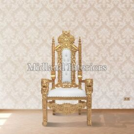 2 x New Gold leaf Lion King Queen Throne Chair Wedding Luxury Hand made French Italian Furniture
