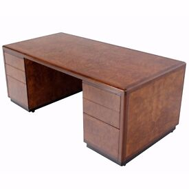Large wooden desk with drawers and cupboard solid well built