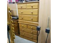 2x solid wood chest of drawers