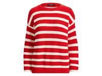 Ralph Lauren Majesky Striped Jumper, Tomato Red/Mascarpone Cream.
