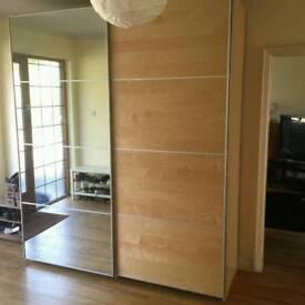 Ikea Pax large double wardrobe Auli/Ilseng sliding mirror doors