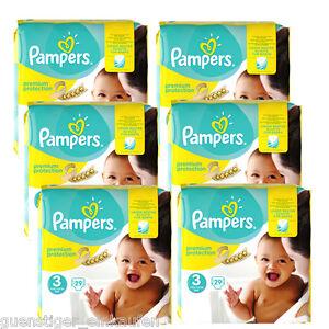 6x 29=174 Pampers PREMIUM Protección tamaño 3 Midi Pañal 5-9 kg Diapers bebé