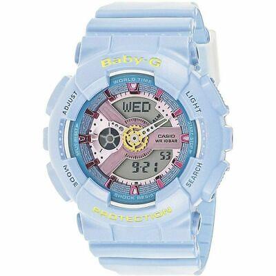 New Casio Blue Baby-G Analog Digital World Time BA-110CA-2A Women's Watch