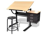 Three Drawers Tiltable Tabletop Drawing Table with Stool-20088