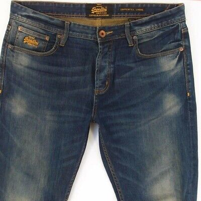 Mens SuperDry COPPERFILL LOOSE Relaxed Skinny Blue Jeans W36 L34