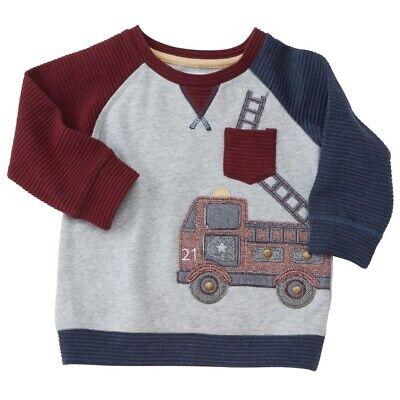 Mud Pie H7 Baby Boy Toddler Gray Firetruck Sweatshirt -1052212 Choose Size