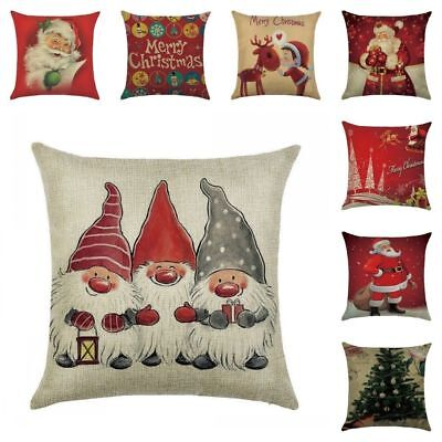 Christmas Pillow Case Santa Cotton Linen Sofa Car Throw Cushion Cover Home (Santa Throw Pillow)