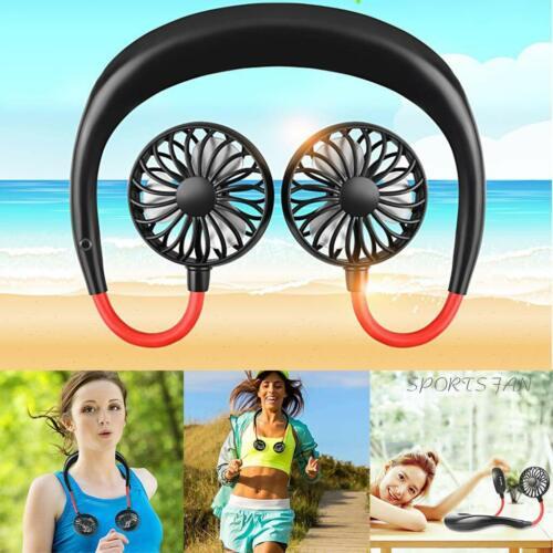 Portable Hanging Neck Fan Rechargeable USB Double Head Sport