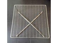 Square chrome coloured metal coffee table