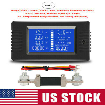 Lcd Display Dc Battery Monitor Meter 0-200v Voltmeter Ammeter For Cars Rv Solar