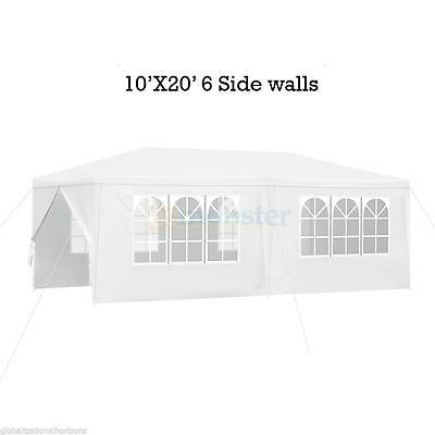 10'x 20' Heavy Duty Party Tent PE Gazebo Wedding Canopy w/6 Side Walls