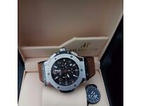 New Mens boxed brown canvas on rubber strap hublot fusion with black face Silver casing with autom