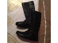 ladies black leather boots clarks size 6