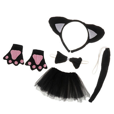 5/set Girls Black Cat Kitty Costume Accessories Set Outfit Party Fancy Dress (Kitty Costume Accessories)