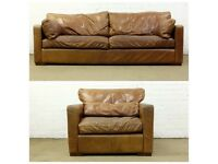 NICE DISTRESSED TAN ANILINE LEATHER 4 SEATER HALO SOFA & ARMCHAIR - UK DELIVERY