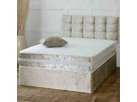 🩸Super Sale 🩸New Double & King Size Crushed Velvet Divan Bed Base W Opt Mattress-chest of drawers