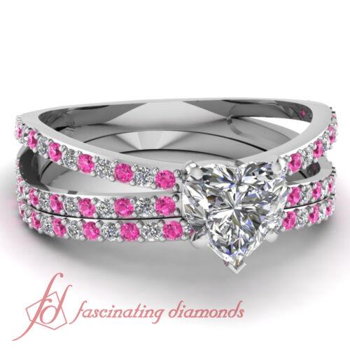 85 Ct Heart Shaped Diamond & Pink Sapphire Bridal Split Shank Rings Set