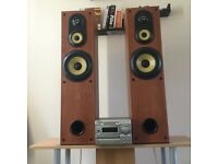 Two large speakers with Sony player and 5m high performance airless cables AUX cable