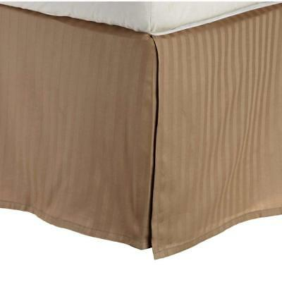 Superior 100% Premium Cotton 300 Thread Count Queen Bed Skirt Stripe, Taupe Stripes Taupe 300 Thread