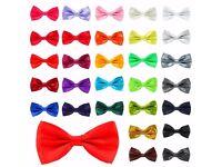Mens Satin Pre Tied Fancy Plain Necktie tie Bow ties Wedding Party Prom