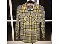 Superdry Yellow and Grey Plaid Shirt