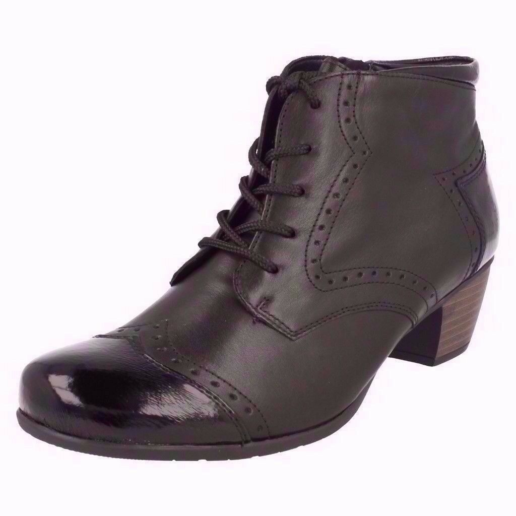 LADIES REMONTE R9170-01 BLACK LEATHER ANKLE BOOTS,UK 6.5/EURO 40, RRP £79, (BRAND NEW IN BOX)