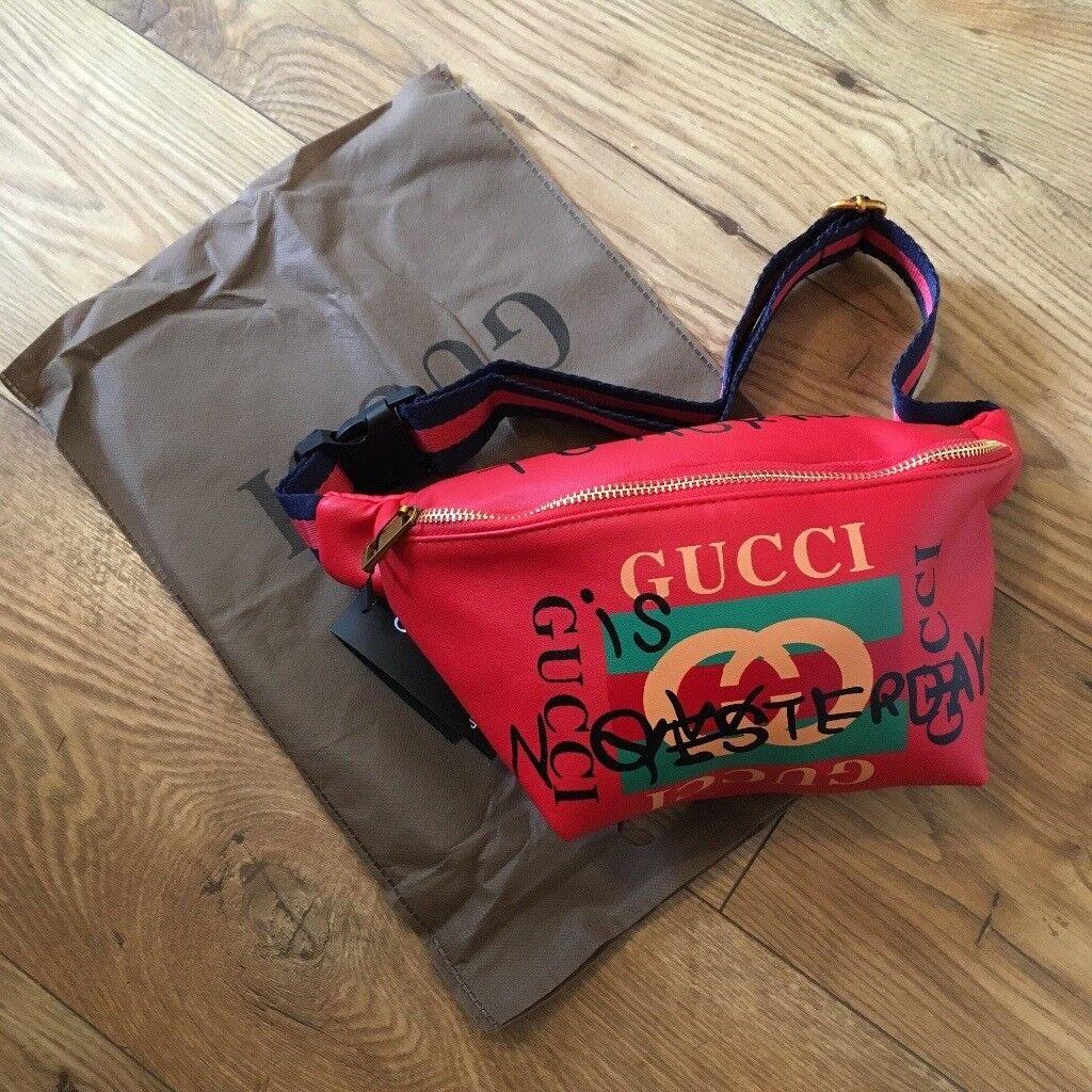 089b7e80492 Gucci women s unisex belt bum bag red graffiti style