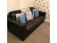 2 dark brown Italian leather sofas