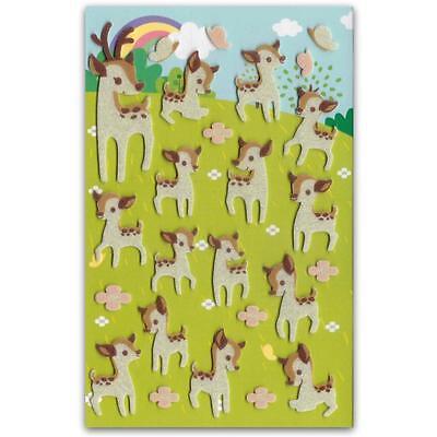 CUTE DEER FELT STICKERS Sheet Forest Animal Kid Craft Scrapbook Fuzzy Sticker