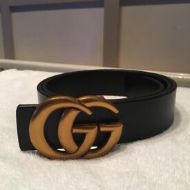 Ladies Black Belt with GG Buckle, brand New will fit waist size 28-34inches