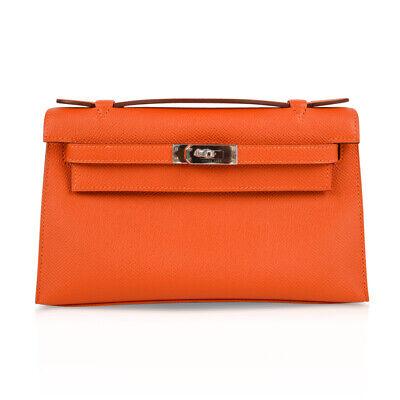Hermes Kelly Pochette Feu Orange Epsom Palladium Hardware