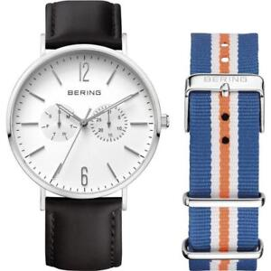Bering Men's Watch 14240-404 Black Leather Band SET Sapphire Slim Case Day Date