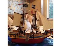 Large Playmobil Pirate Ship with extra sets and accessories
