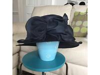 Large navy hat for occasion, races, wedding