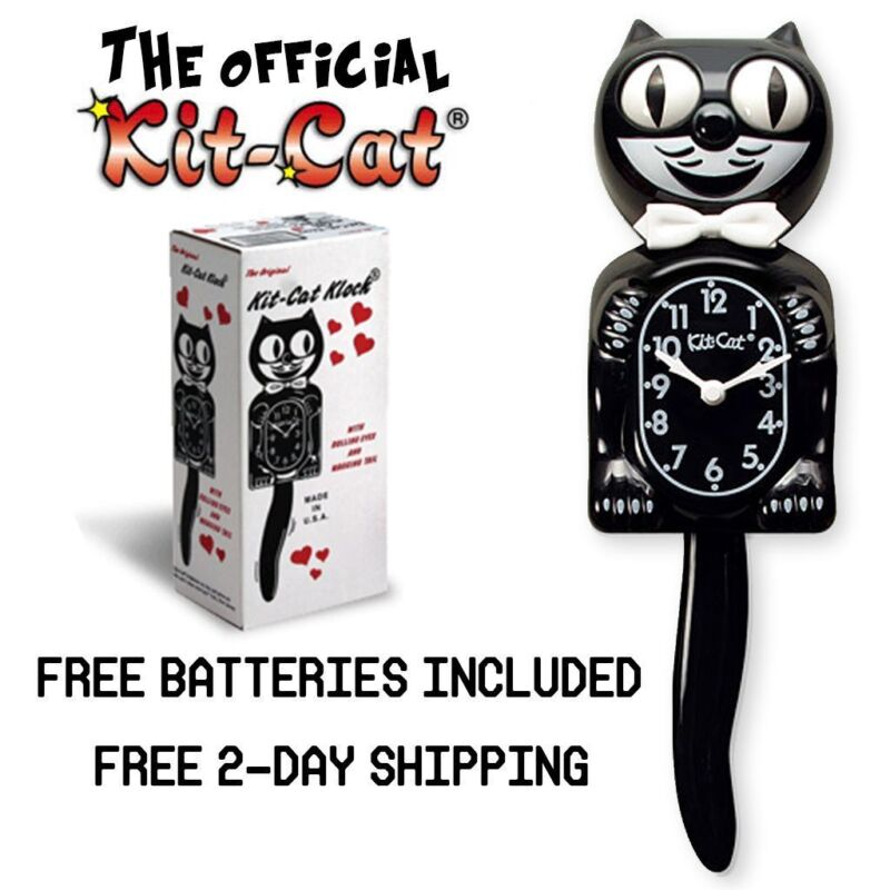 """CLASSIC BLACK KIT CAT CLOCK 15.5"""" Free Battery MADE IN USA Official Klock NEW"""